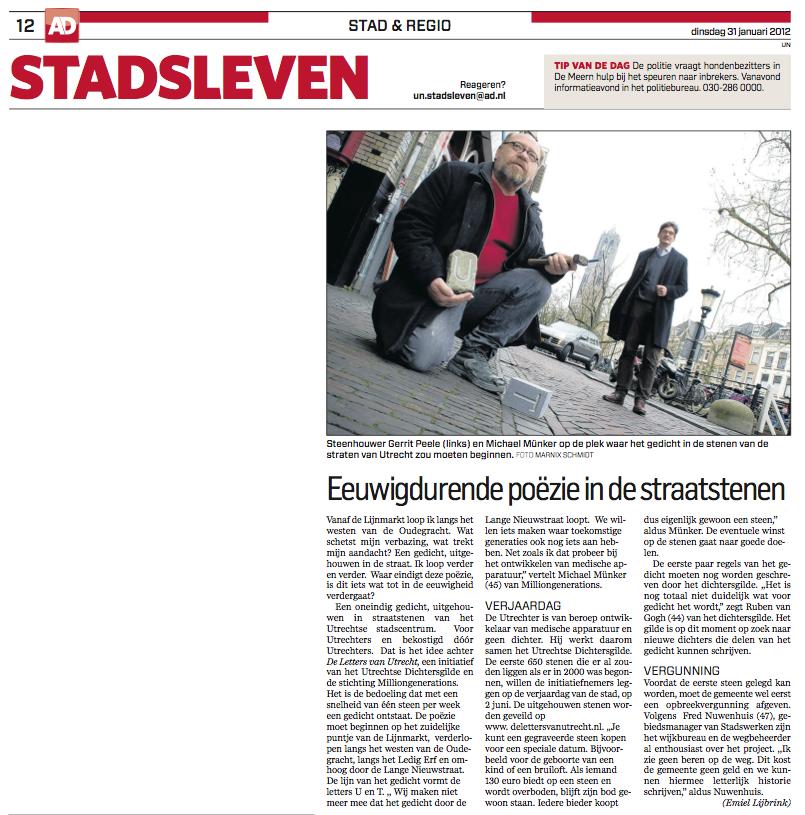 AD Utrecht Stadsleven 31 jan 2012 - dank: (c) Marnix Schmidt (foto) en (c) Emiel Lijbrink/AD (tekst)