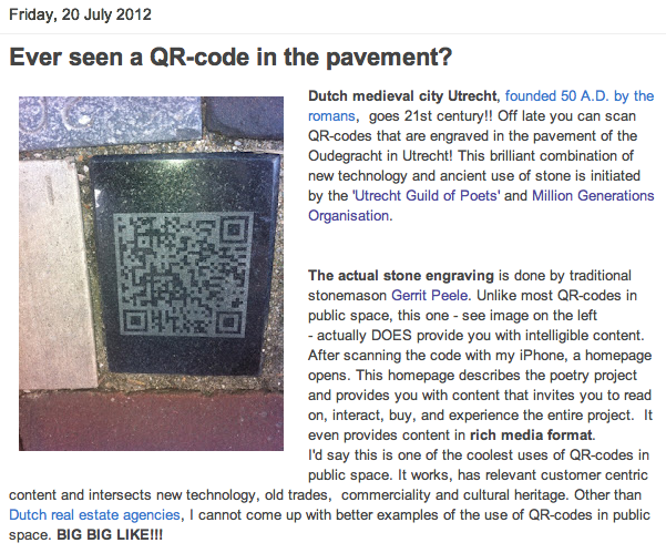 Robert Koch: Ever seen a working QR code in the pavement?