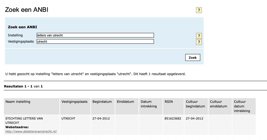 ANBI Status Letters van Utrecht per 23 november 2019